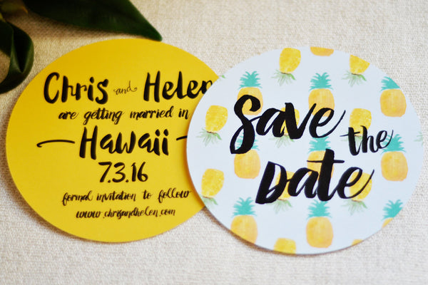 Round Save the Date Wedding Pineapple Tropical | Save the Date Wedding Watercolor Hawaiian