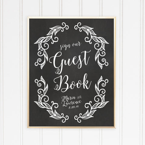 Wedding Chalkboard Guest Book Sign