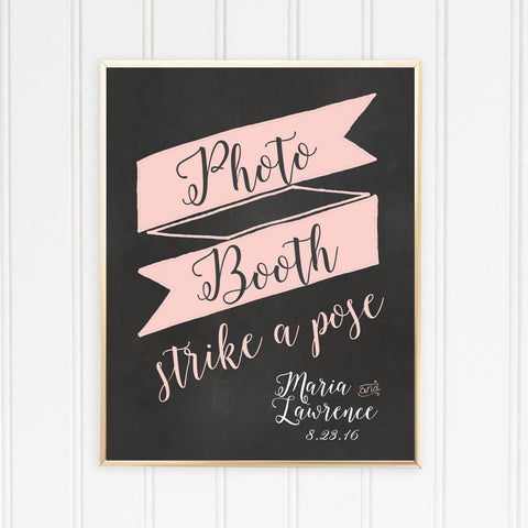 Wedding Chalkboard Photo Booth Sign, Strike a Pose | Chalkboard Ribbon Script Photo Booth Sign