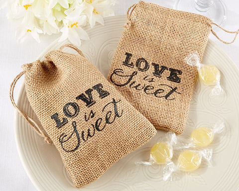 Rustic Wedding Burlap Favor Bags, Love is Sweet (Package of 12)