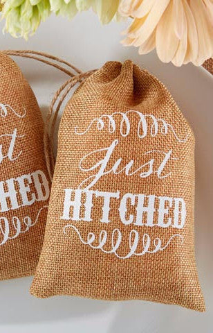 Rustic Wedding Burlap Favor Bags, Just Hitched (Package of 12)