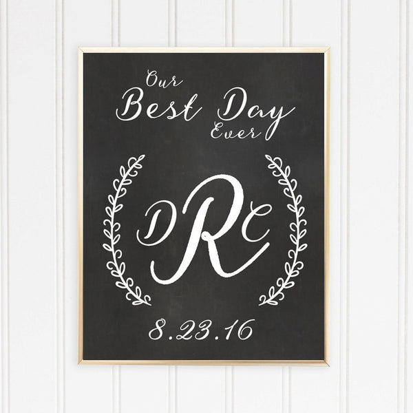 Initials Our Best Day Ever Chalkboard Photo Sign
