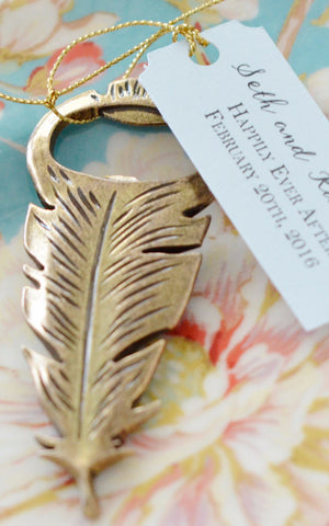 "Feather Peacock Bottle Opener with Personalized Tag ""Happily Ever After"" (Antique Gold)"