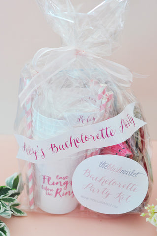 "Personalized Bachelorette Party Kit ""Last Fling Before the Ring"" (Gold and Pink)"