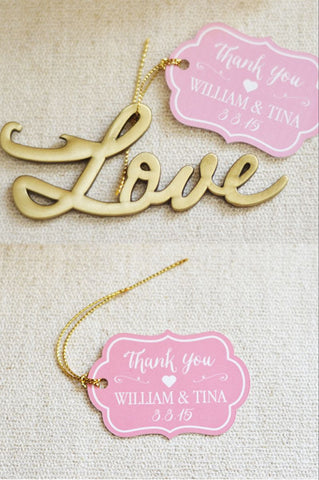 Love Bottle Opener Favor with Personalized Tag (Antique Gold)