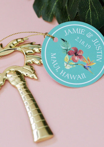 Palm Tree Bottle Opener Favor with Personalized Round Tag (Gold)