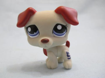 LITTLEST PET SHOP Gray & Red Jack Russell 1743 Authentic