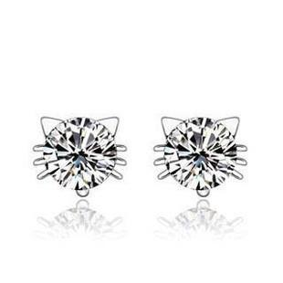 Austria Crystal Kitty Stud Earring
