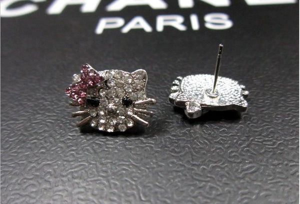 Crystal Cat Stud Earrings with FREE SHIPPING!