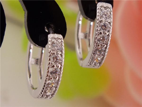 Free Shipping! One Pair Silver Womens Pretty Hoop Earrings with Clear Shining CZ