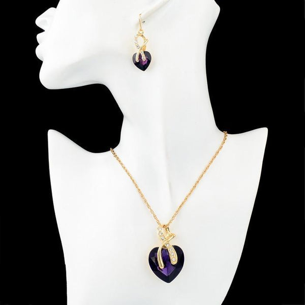 Crystal Heart Necklace and Drop Earrings Set
