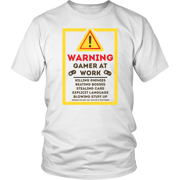 Warning Gamer at Work Shirt