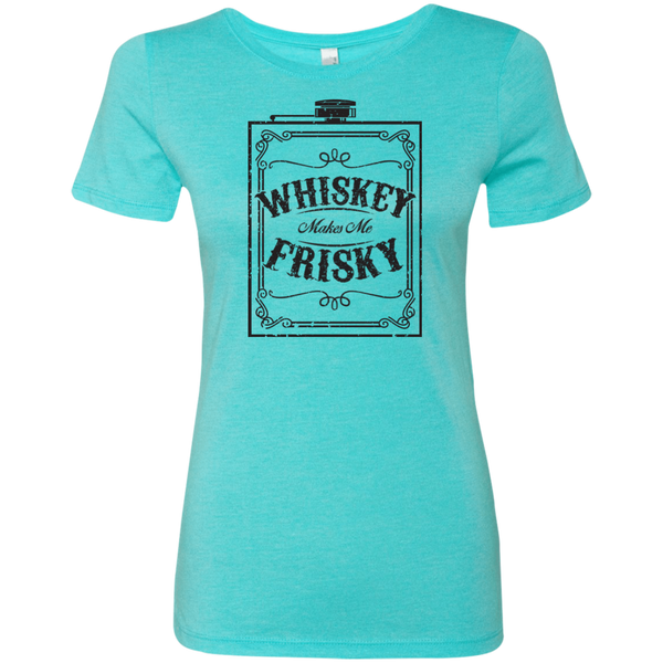 Whiskey Makes Me Frisky Black Text Ladies' Triblend T-Shirt