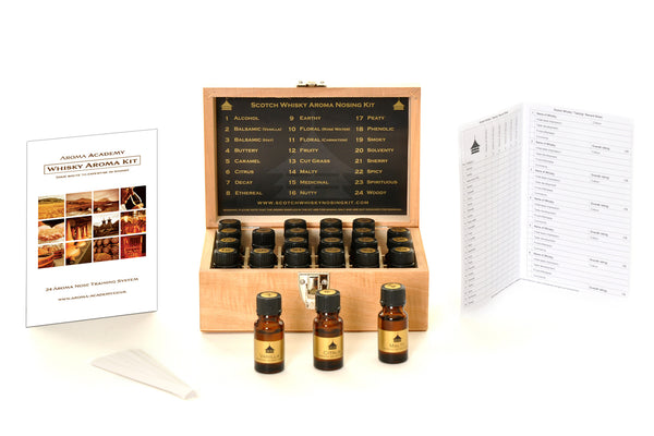 Whisky Aroma Nose Training System - 24 Whisky Aromas Kit Wooden Presentation Box