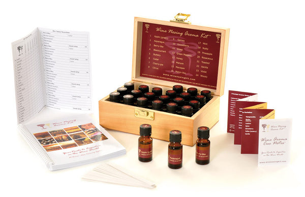 Wine Aroma Nose Training System - 24 Wine Aromas Kit in Wooden Display Case