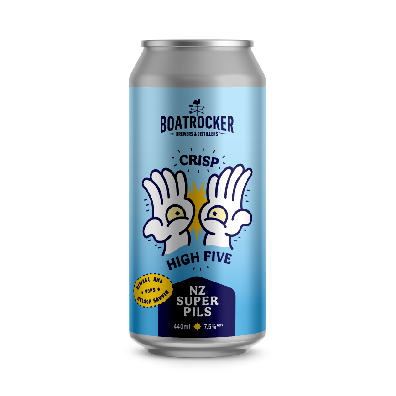 Boatrocker Crisp High Five New Zealand Super Pilsner Beer Logo
