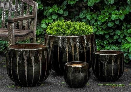 Campania International Martine Planter Set of 4 in Chocolate Stout