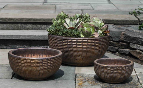 Campania International Antique Lattice Basket of Three in Bronze