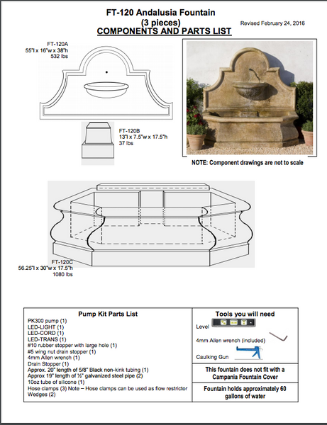 Andalusia Wall Fountain installation instructions