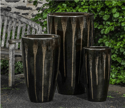Campania International Alessia Planter Set of 3 in Chocolate Stout