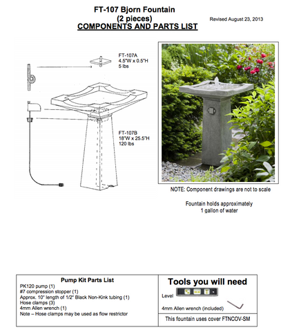 Campania International Bjorn Fountain Assembly Instructions