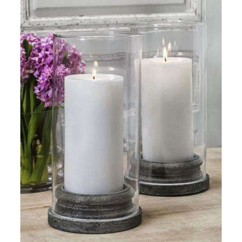 Campania International Classic Pillar Candleholder Set of 4 with Hurricane - Tabletop Decor