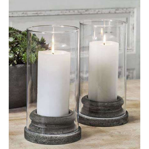Campania International Classic Pillar Candleholder with Hurricane Glass Set of 4 - Tabletop Decor