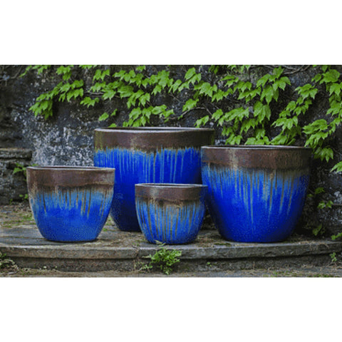 Campania International Marcel Planter Set of 4 in Bronze Blue - Ceramic Planters