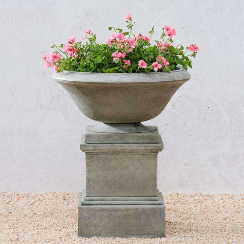 Image of Campania International Maywood Urn on Glenview Pedestal - Cast Stone Urn
