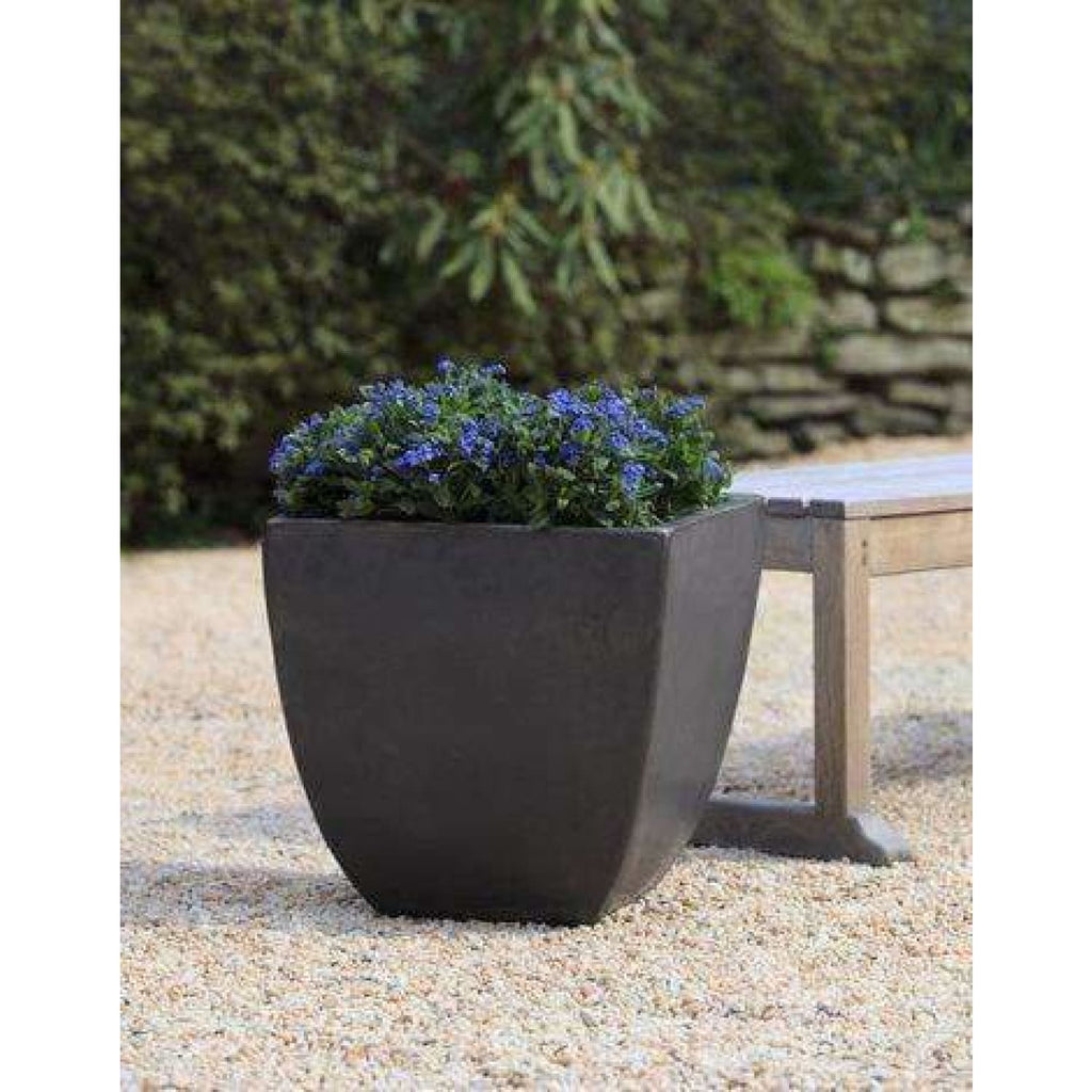Campania International Mika Square Planter Set of 3 in Graphite - Ceramic Planters