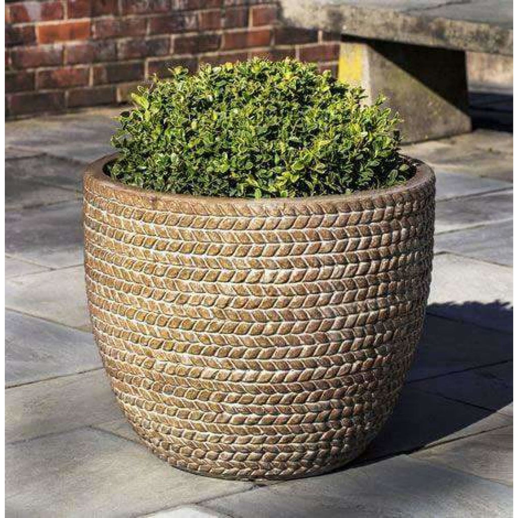 Campania International Sisal Weave Planter Set of 3 - Ceramic Planters