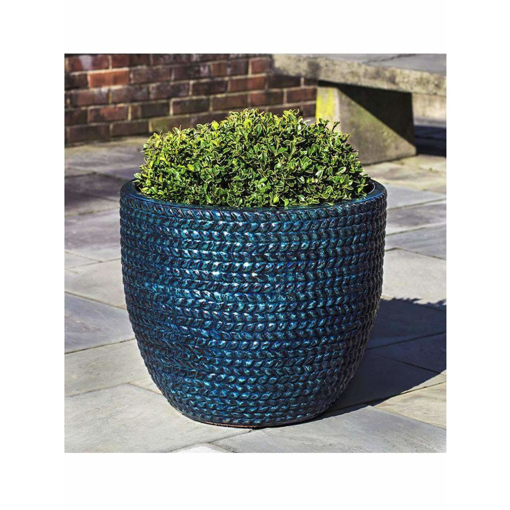 Campania International Sisal Weave Planter Set of 3 - Indigo Rain - Ceramic Planters