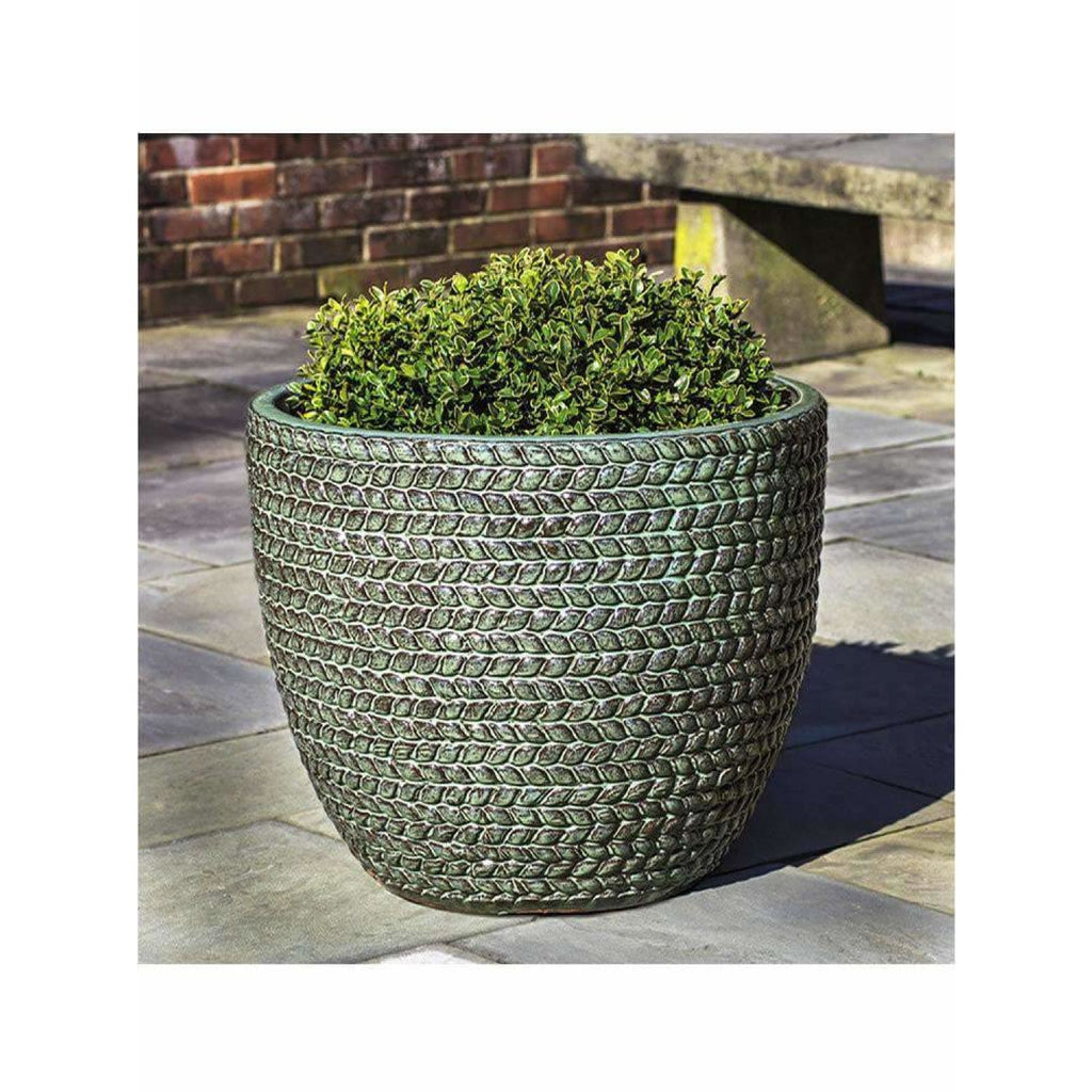 Campania International Sisal Weave Planter Set of 3 - Seafoam Green - Ceramic Planters