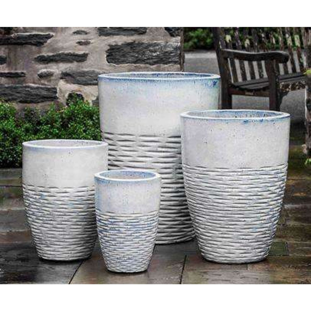 Campania International Tall Hyphen Planter Set of 4 in Milk Glaze - Ceramic Planters