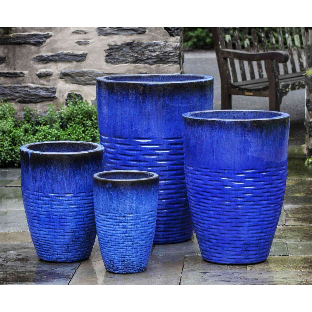Campania International Tall Hyphen Planter Set of 4 in Riviera Blue Glaze - Ceramic Planters