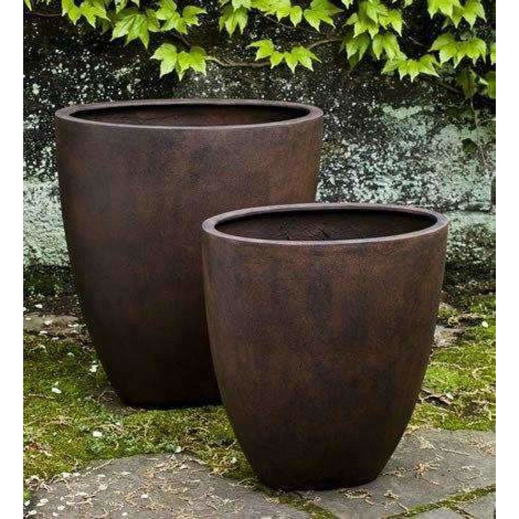 Campania International Tall Oval Lite Planter Set of 2 in Rust - Lite Planters