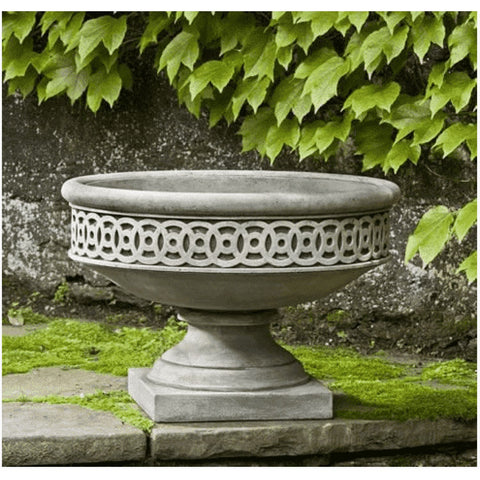 Image of Campania International Williamsburg Low Fretwork Urn with Pedestal - Cast Stone Urn
