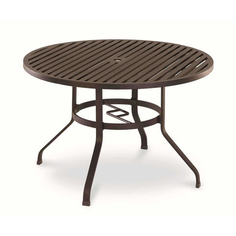 Image of Sunset West La Jolla Round Outdoor Dining Table and Chair Set - Outdoor Dining Table