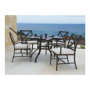 Sunset West La Jolla Round Outdoor Dining Table and Chair Set - Outdoor Dining Table