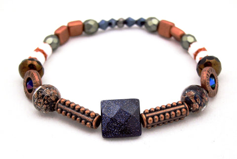 Mixed Metal & Blue Goldstone Bracelet