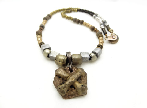 Mixed Metal Necklace with Handmade Crossbones Pendant