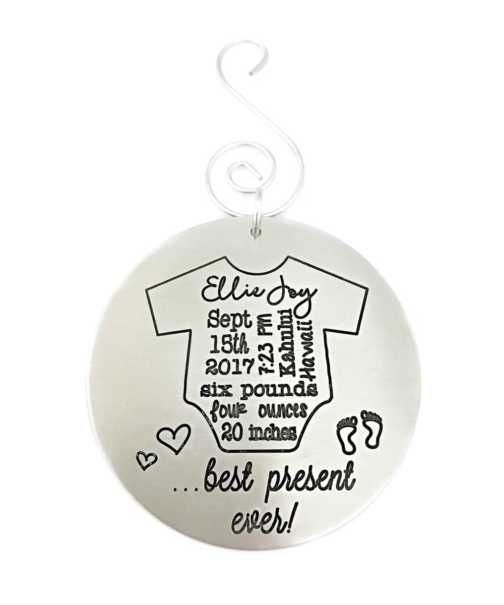 Baby's First Christmas Ornament - Best Present Ever 2017