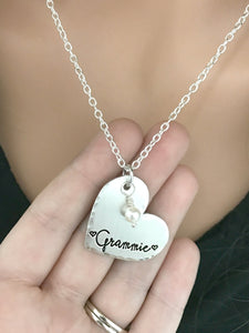 Heart And Pearl Hammered Name Necklace