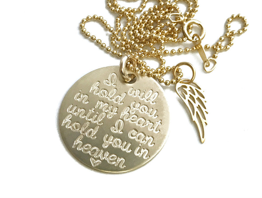 I Will Hold You In My Heart Until I Can Hold You In Heaven Wing - 14k Solid Gold Necklace