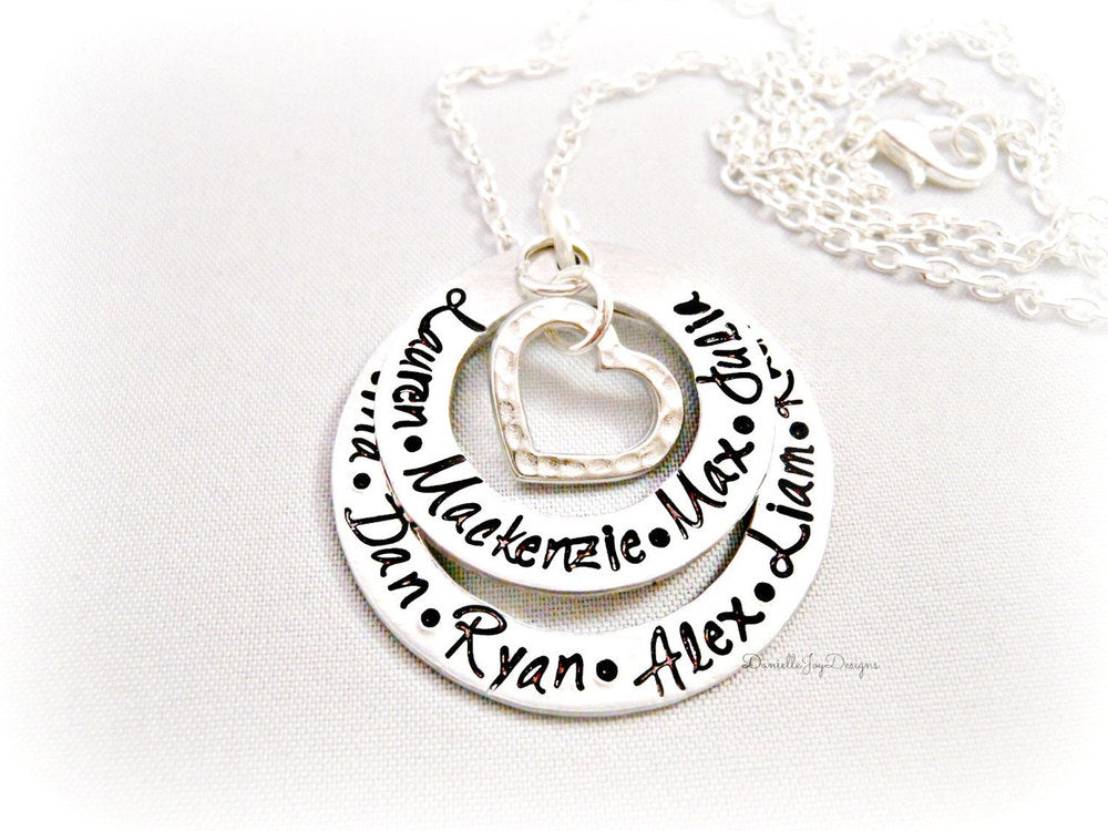 Hand Stamped Layered Eternity Washer Personalized Handstamped Keepsake Mother Grandma Necklace