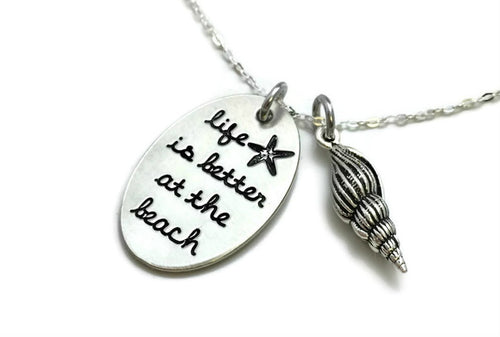 Life Is Better At The Beach Oval Shell Necklace