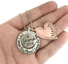 Load image into Gallery viewer, For I Know The Plans I Have For You, Jeremiah 29:11 Mixed Metal Heart Necklace