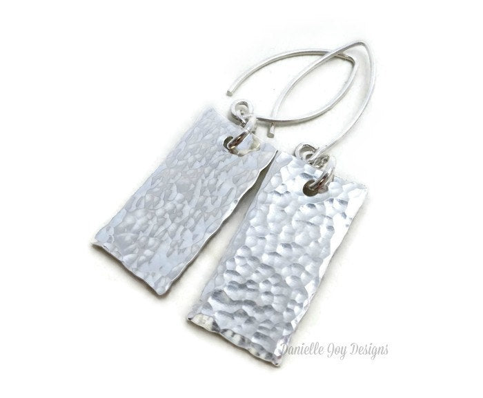 Hand Stamped Personalized Sterling Silver Hammered Textured Rectangle Earrings Simple Delicate Dainty