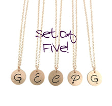 Load image into Gallery viewer, Bridesmaid Initial Necklaces - Rose Gold Filled - Set of FIVE