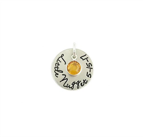 Personalized Round Tag with Birthstone